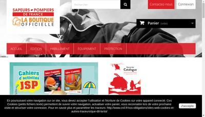 Site internet de Boutique Officielle des Sapeurs Pompiers de France