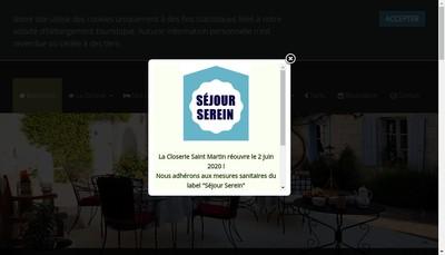 Site internet de La Closerie Saint Martin