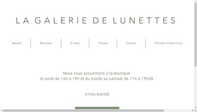Site internet de La Galerie de Lunettes