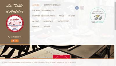 Site internet de La Table d'Antoine