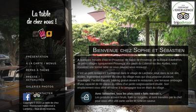 Site internet de La Table de Chez Nous