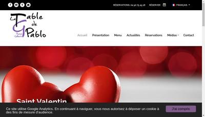 Site internet de La Table de Pablo