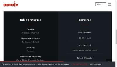 Site internet de Le Bistrot du Quai