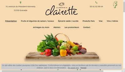 Site internet de Le Jardin de la Clairette