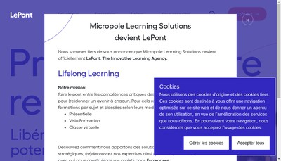 Site internet de Le Pont Learning