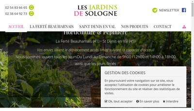 Site internet de Les Jardins de Sologne