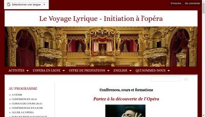 Site internet de Le Voyage Lyrique
