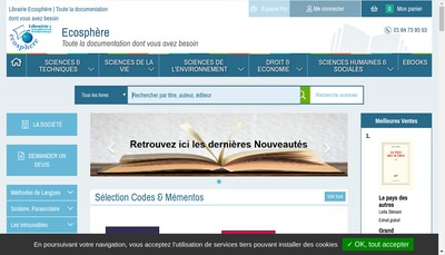 Site internet de Librairie Ecosphere