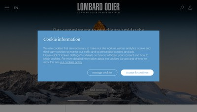Site internet de Lombard Odier (Europe) SA