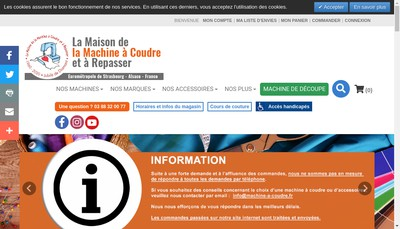 Site internet de Centre Pfaff Service Maison de la Machine