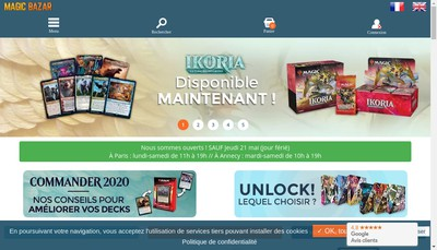 Site internet de Magic Bazar