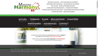 Site internet de Maisons Harmony 63