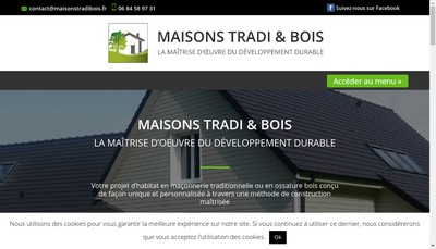 Site internet de Maisons Tradi & Bois