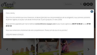 Site internet de Mana Voyages