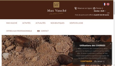 Site internet de Max Vauche Chocolatier