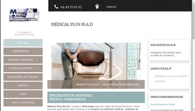 Site internet de Medical Plus Mad