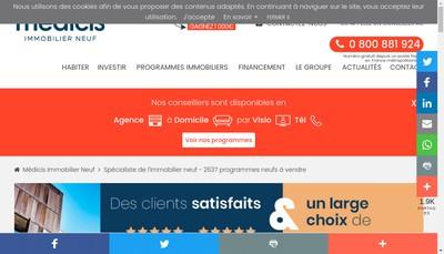 Site internet de Medicis Immobilier Neuf