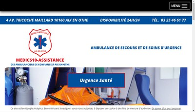Site internet de Medics10-Assistances
