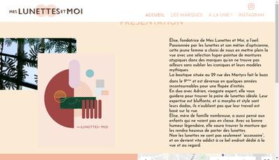 Site internet de Mes Lunettes et Moi