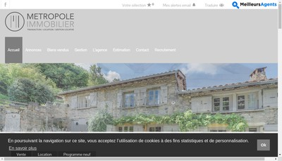 Site internet de Metropole Immobilier