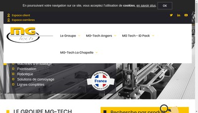 Site internet de Mg-Tech Angers