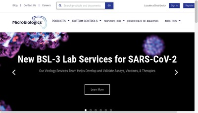 Site internet de Microbiologics