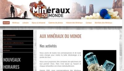 Site internet de Aux Mineraux du Monde