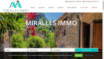 Site internet de Miralles Immo