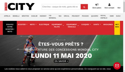 Site internet de Mondial Scooter + Mondial City