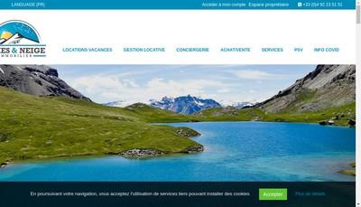 Site internet de Cimes et Neige Immobilier