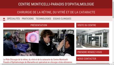 Site internet de Centre Monticelli Paradis d'Ophtalmologie
