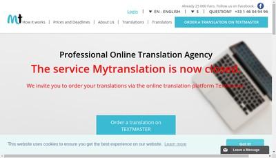 Site internet de My Translation(Ma Traduction)