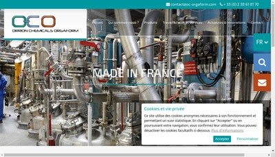 Site internet de Orrion Chemicals Orgaform