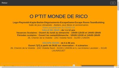 Site internet de O P'Tit Monde de Rico