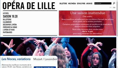 Site internet de Opera de Lille