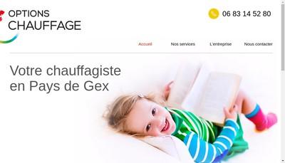 Site internet de Options Chauffage