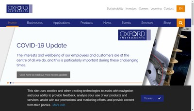 Site internet de Oxford Instruments SARL