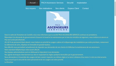 Site internet de Paca Ascenseurs Services