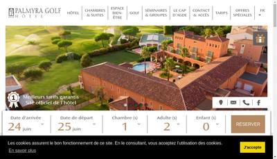 Site internet de Palmyra Hotel Cap d'Agde
