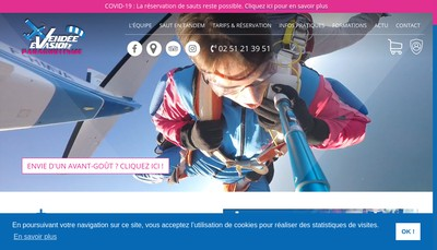Site internet de Vendee Evasion Parachutisme