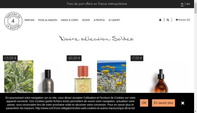 Site internet de Parfums de la Bastide
