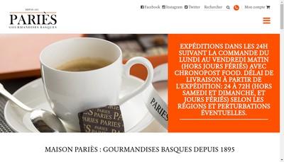Site internet de Confiserie Paries