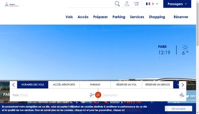 Site internet de Aeroports de Paris