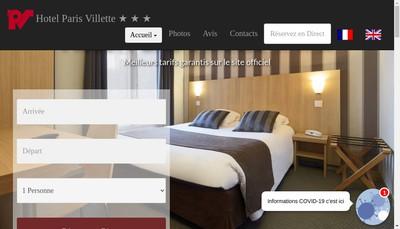 Site internet de Hotel Paris Villette