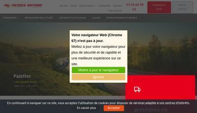 Site internet de Transports Patrice Antoine Nord Pas de Calais