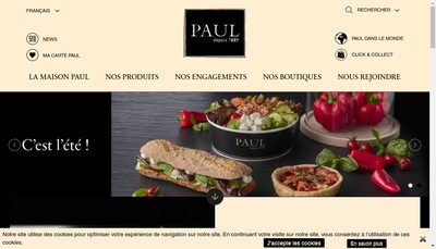 Site internet de Boulangerie Paul