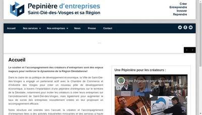 Site internet de La Pepiniere d'Entreprises de Saint Die des Vosges et de SA Region