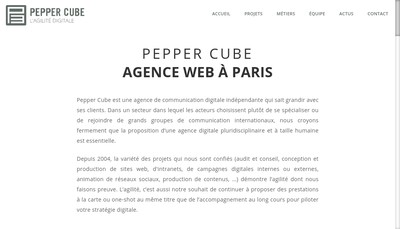 Site internet de Pepper Cube