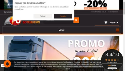 Site internet de Pg Distribution