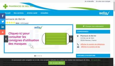 Site internet de Pharmacie de Bel Air